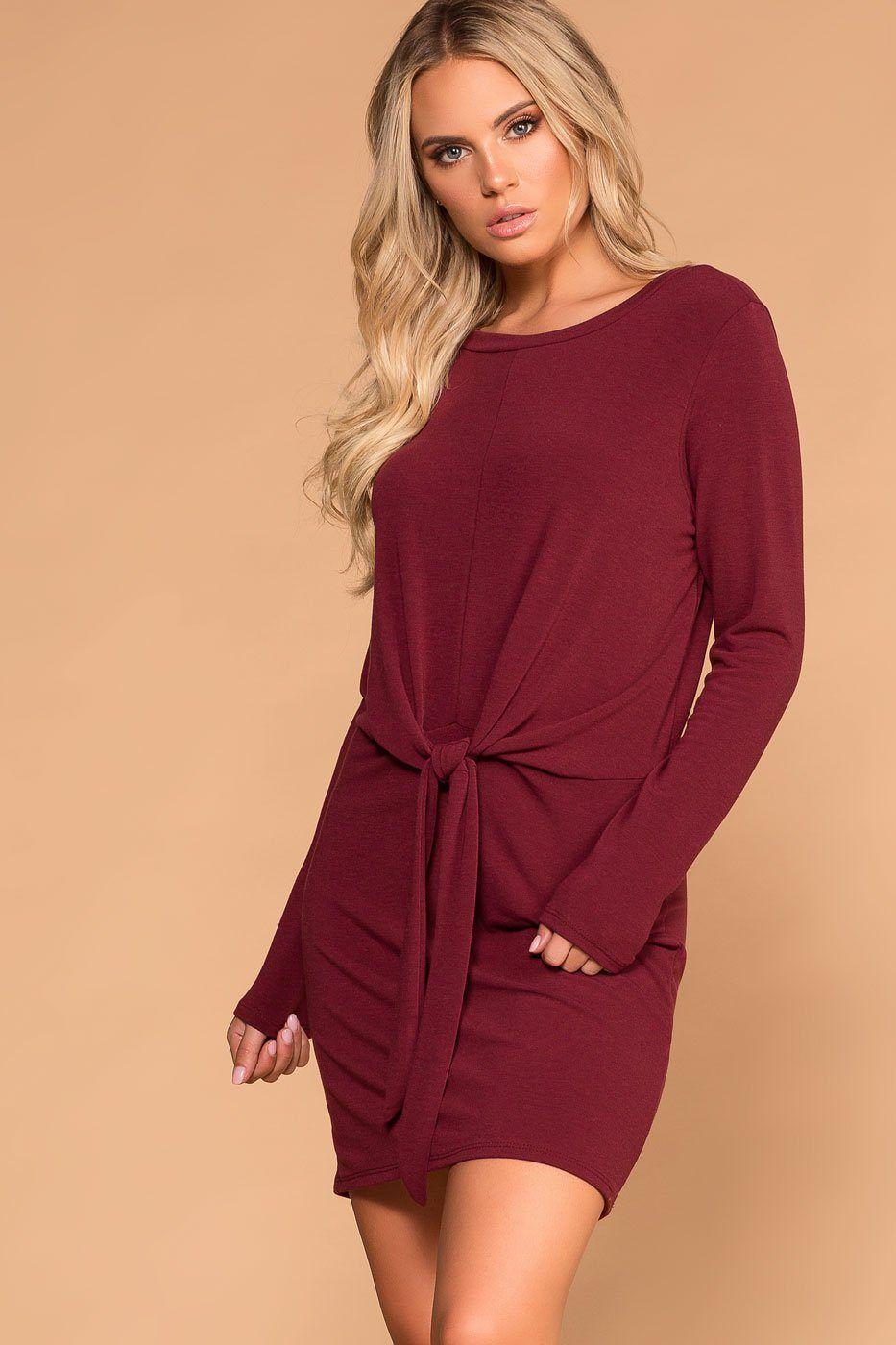 116d2f55f2d Burgundy Tie-Front Sweater Dress