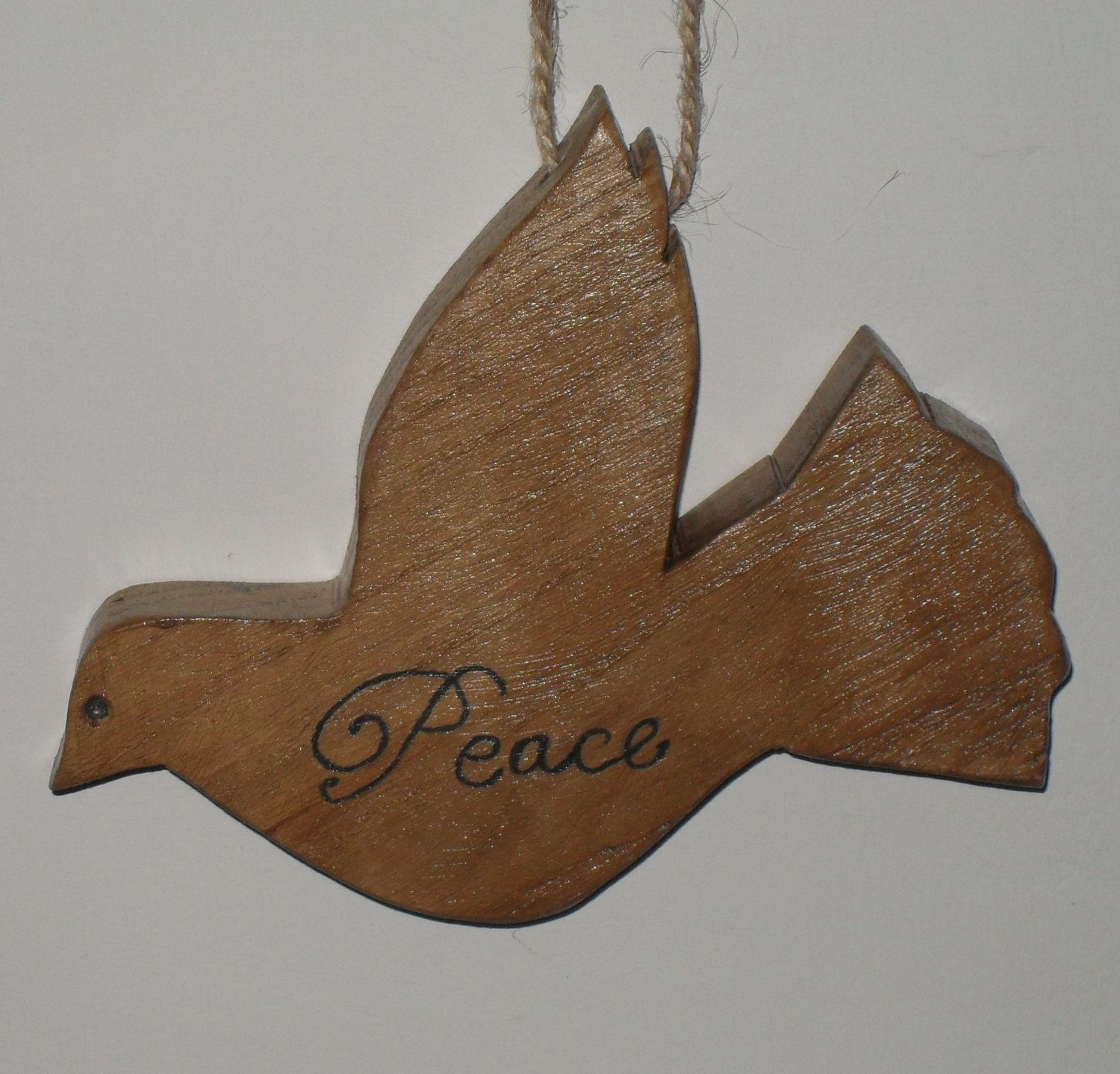 dove of peace, hanging, wooden decoration by JuSucraftywood on Etsy
