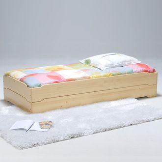 lot de 2 lits empilables 90x190cm sommiers lattes bois. Black Bedroom Furniture Sets. Home Design Ideas