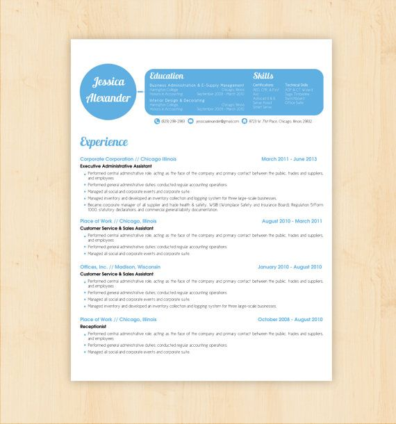Resume Template \/ CV Template - The Jessica Alexander Resume - microsoft word 2010 resume template