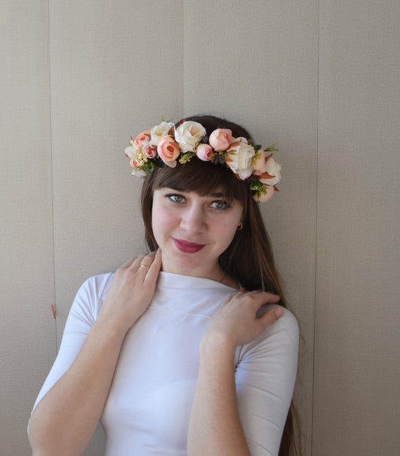 Fall Wedding Hairstyles With Flower Crown: Fall Flower Crown Beige Floral Crown Boho Wedding