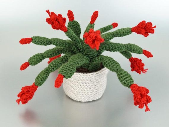 PDF Christmas Cactus amigurumi potted plant CROCHET PATTERN