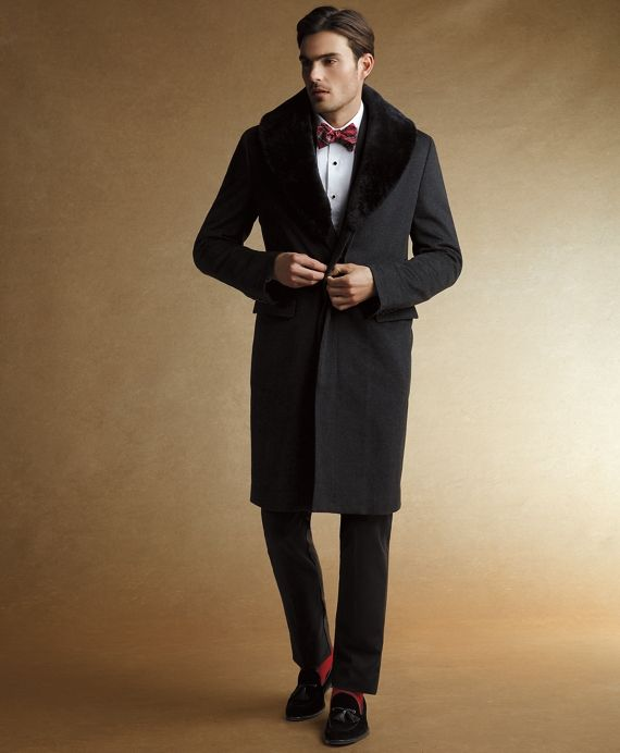 Shearling Collar Chesterfield CoatCharcoal | As You Like It Black ...