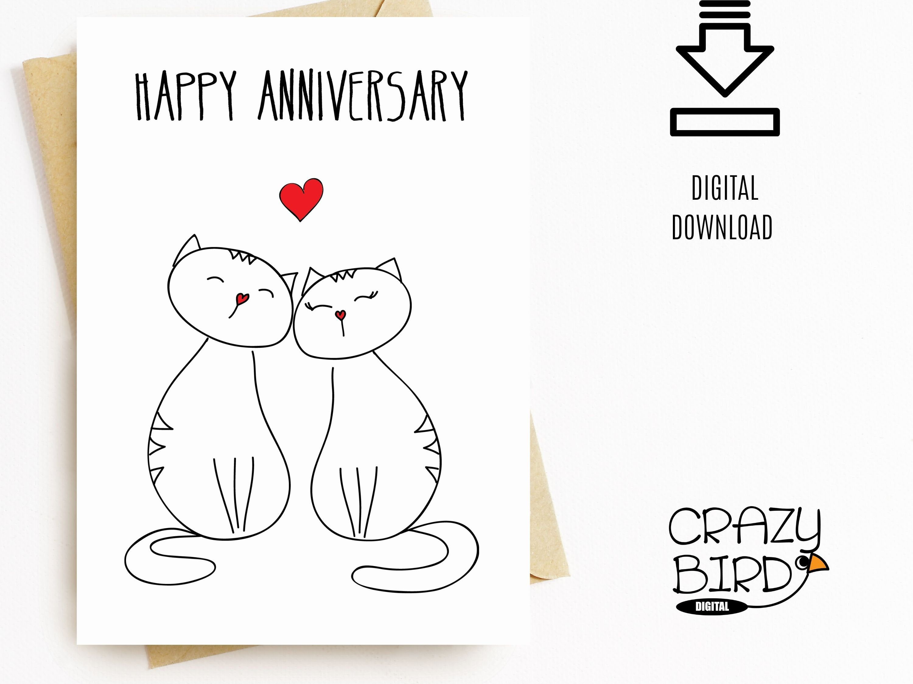 Printable Anniversary Card With Cats Printable Anniversary Etsy Printable Anniversary Cards Anniversary Cards For Wife Happy Anniversary Cards