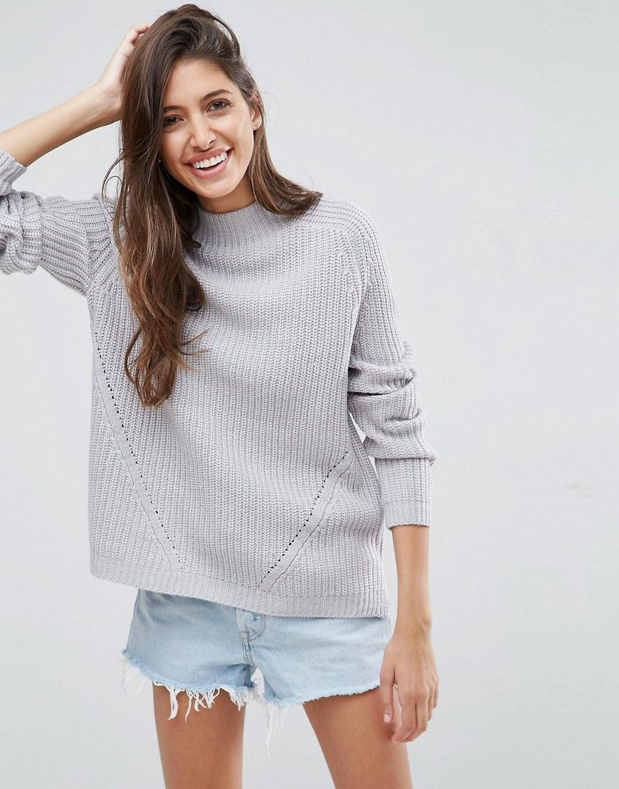 ASOS Ultimate Chunky Sweater With Slouchy High Neck - Gray