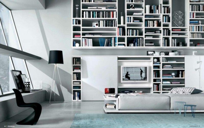 Retro Modern Living Room Design With Bookshelves Sliding