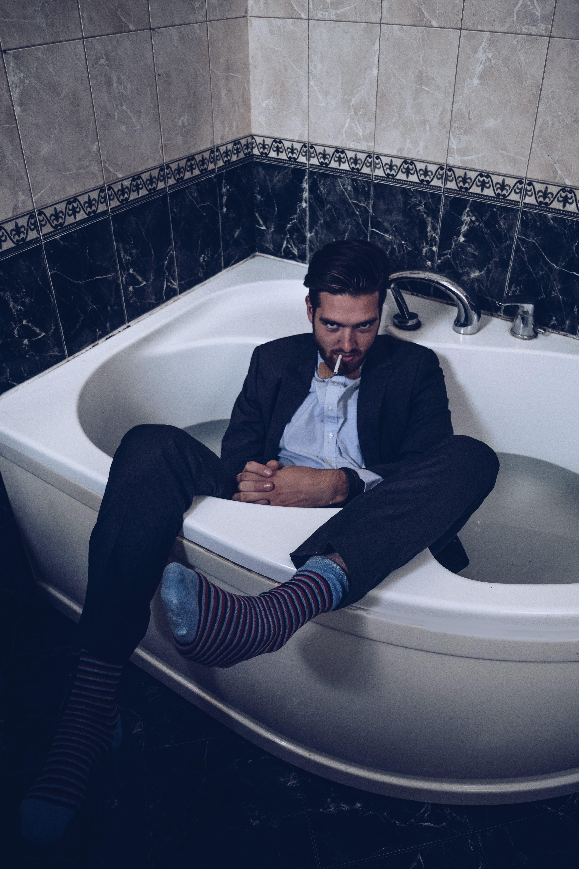 Annija Veldre Photography male model photoshoot bath smoke suit ...