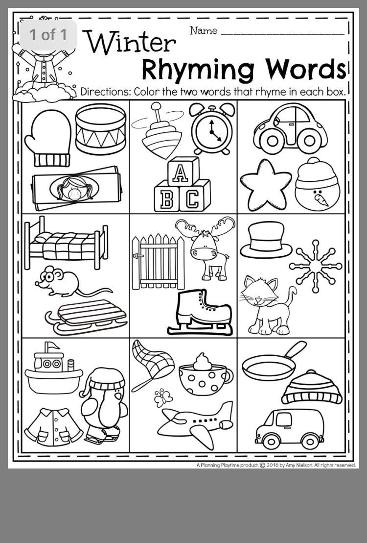 Pin By Nicole Halbur On School Stuff Preschool Winter Worksheets Rhyming Worksheet Phonics Kindergarten