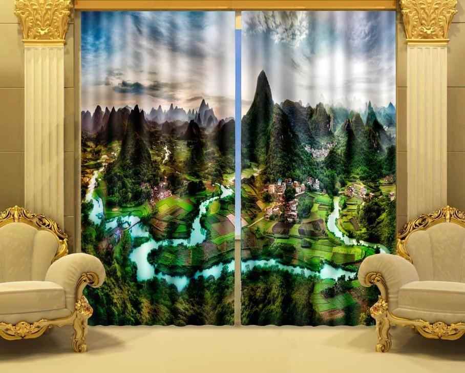 3d blackout curtains | Aliexpress.com : Buy Photo Print stereoscopic 3d Curtains  Landscape of