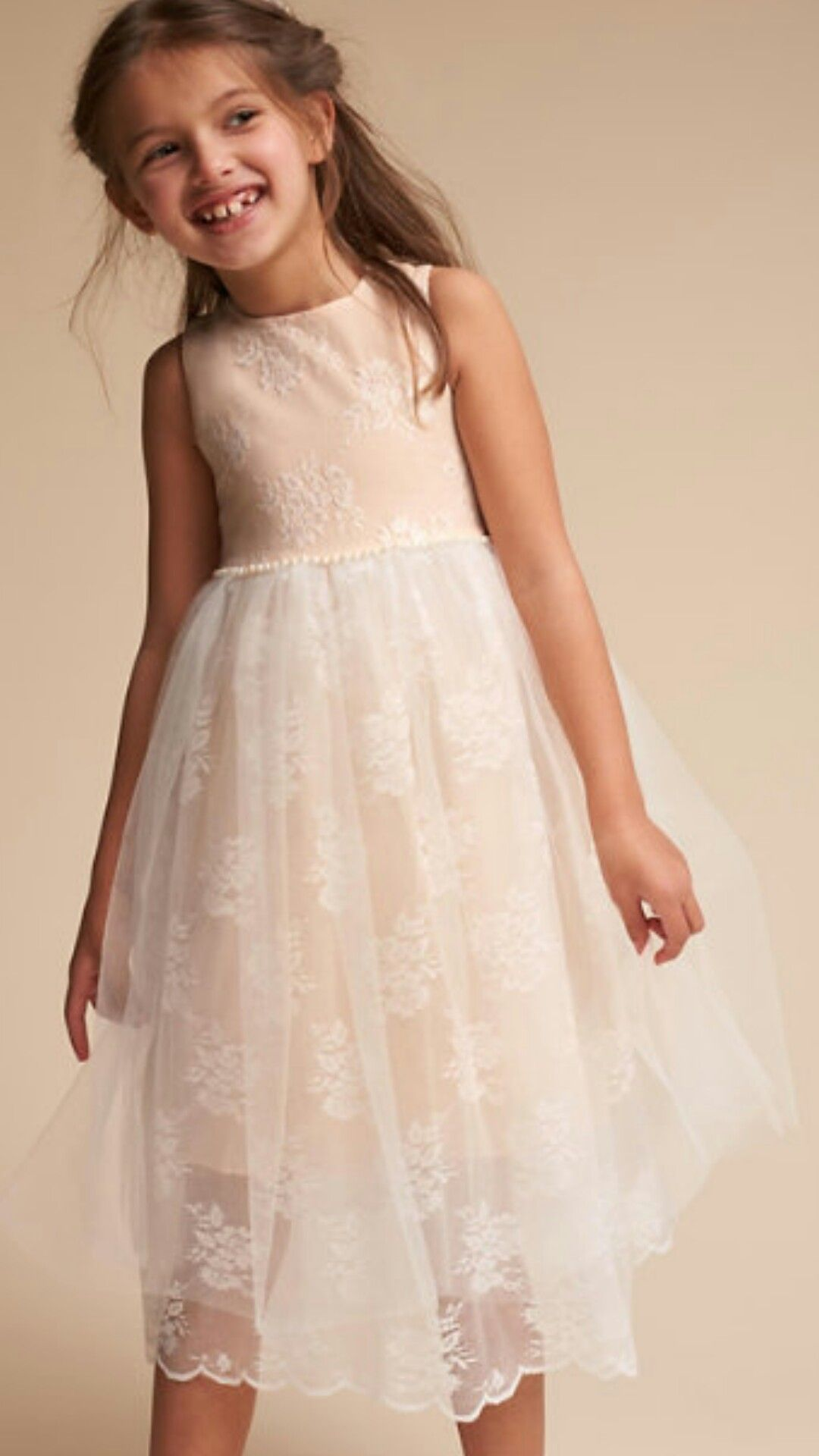 Simple bodice, lacy ,scallop hem, flower girl dress #ad