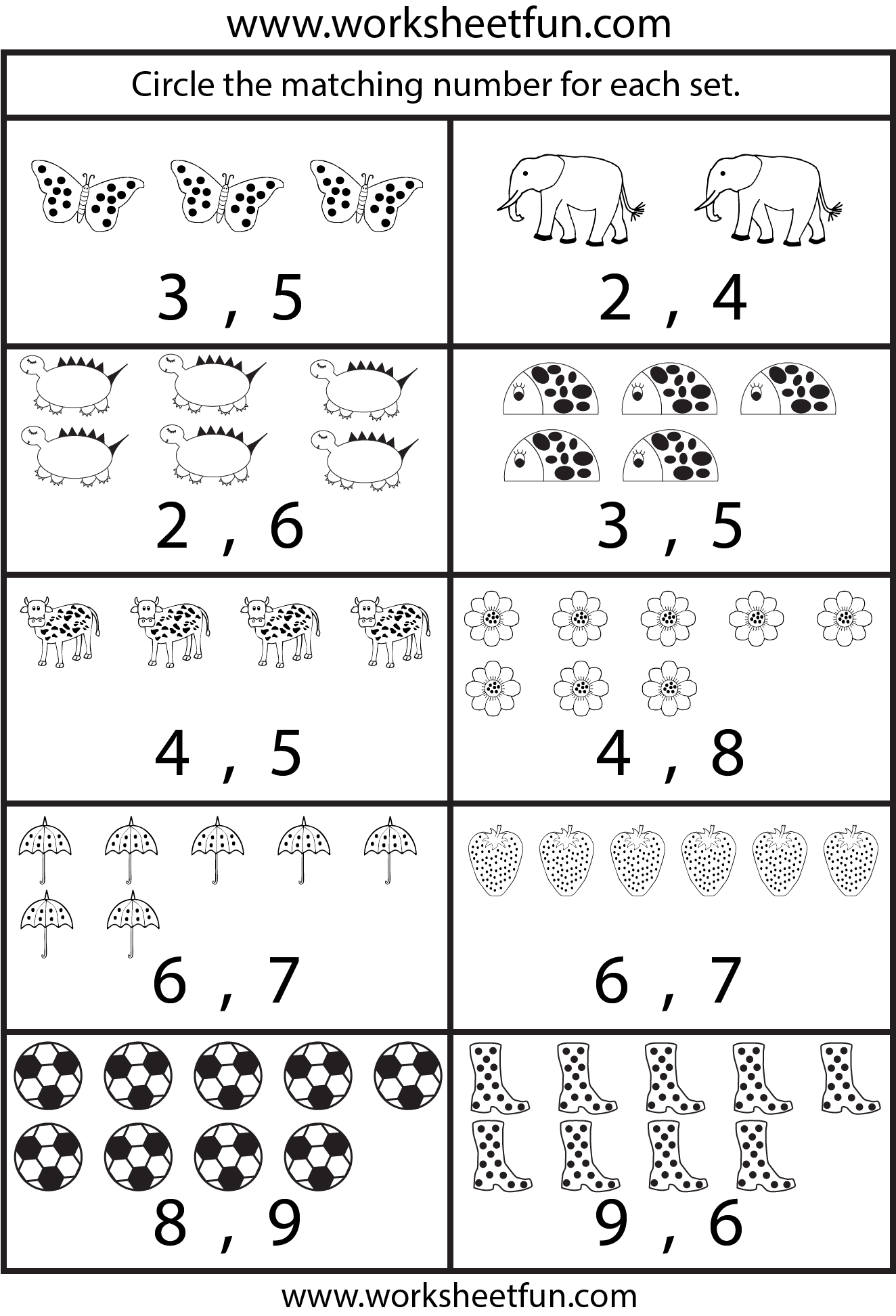 Kindergarten Worksheets FREE Printable Worksheets Worksheetfun – Counting Numbers Worksheets for Kindergarten