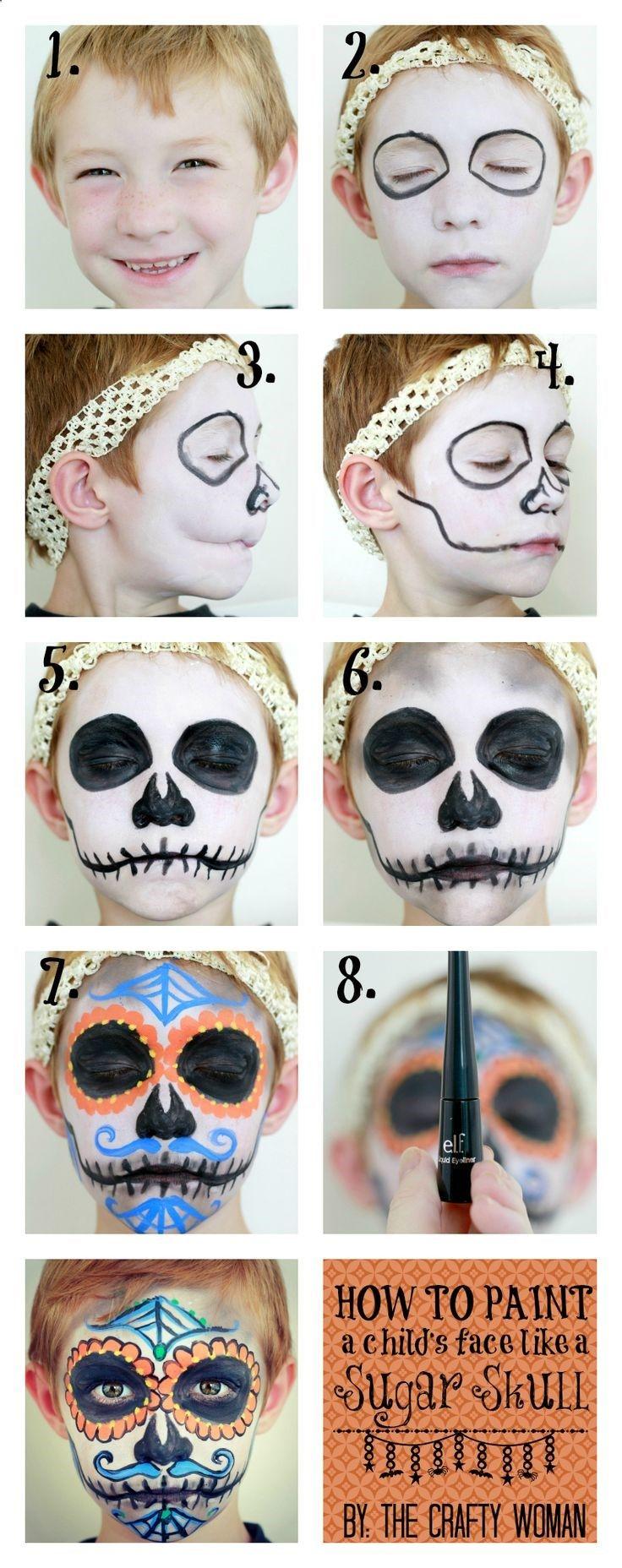 how to face paint dia de los muertos skulls