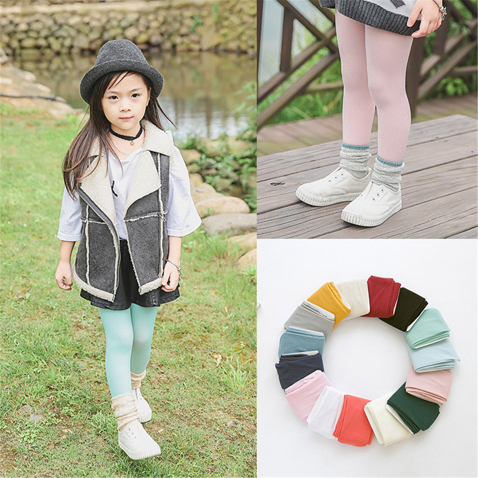 Solid Color Soft Velvet Tights Children Girl Kids Pantyhose Tights ...