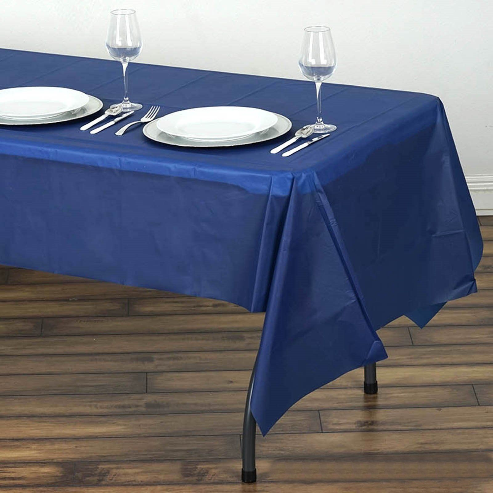 54 X 108 Navy Blue 10 Mil Thick Waterproof Tablecloth Pvc Rectangle Disposable Tablecloth In 2020 Plastic Table Covers Plastic Tables Affordable Table