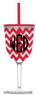 Monogrammed 13oz Red Chevron Double Wall Acrylic Wine Cup