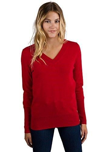 Jennie LIU Women's 100% Pure Cashmere Long Sleeve Ava V Neck Sweater (L,
