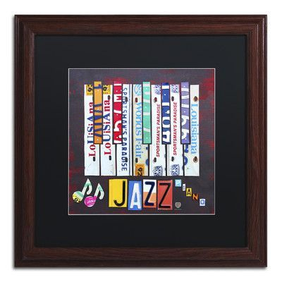 "Latitude Run Jazz Series Piano by Design Turnpike Framed Graphic Art Size: 16"" H x 16"" W x 0.5"" D"