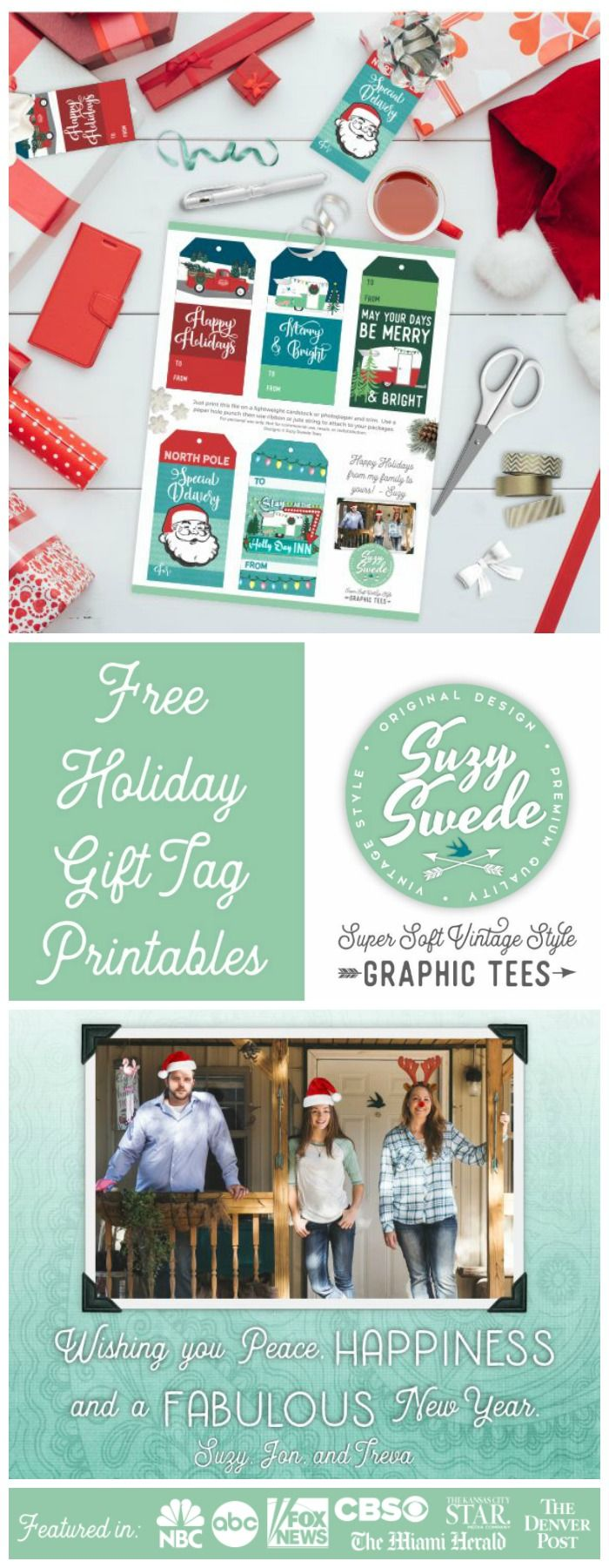 Free Holiday Gift Tag Printables Compliments of Suzy Swede ~ Vintage ...