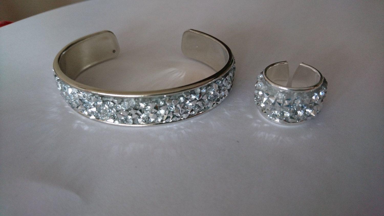 Setje metalen cuff armband en ring met kristal diamant glitter/Festival bandje/Gypsy boho bohemian beach stackable inspired bracelet door Suusjabeads op Etsy