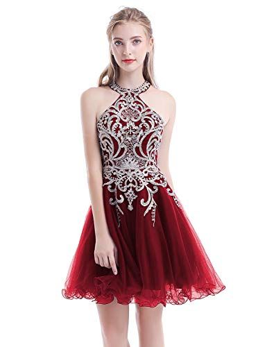 3f660592d8ac Aurora Bridal Women s Halter Beaded Homecoming Dresses 2018 Short Tulle  Prom Gown AH112