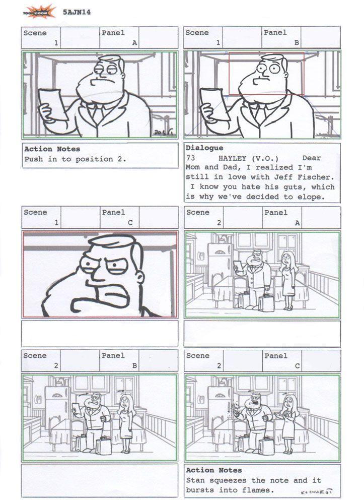 Patrick Kochakji Storyboard Artist American Dad storyboard - script storyboard