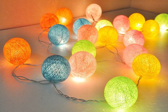 Sweet Colour Cotton Ball String Lights For By Ginew On Etsy 11 50