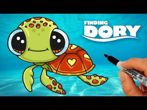 How to Draw Squirt from Finding Dory step by step Cute Sea Turtle