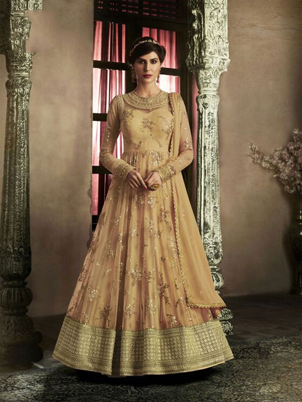 7f1c1173988 Shop orange net embroidery work floor length anarkali suit dress online for  all occasions with matching bottom. Choose from our wide range of designer  ...