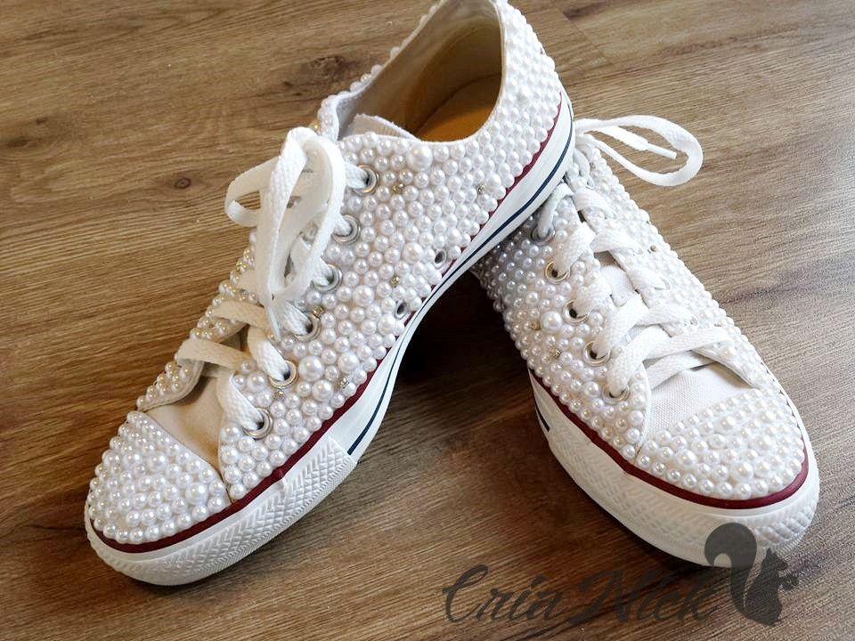 Tênis All Star Converse Original Branco com pérolas e strass! Fazemos de  diversos tamanhos 3df3f7f29e