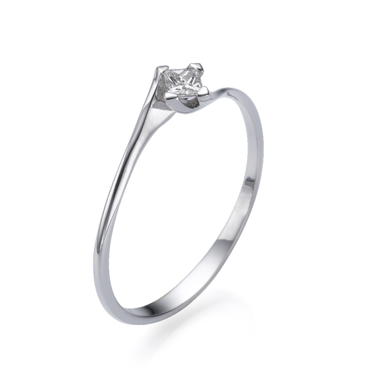 Princess Cut Solitaire Diamond Engagement Ring 14K White Gold
