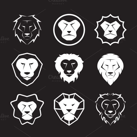 Vector group of an lion head design by yod67 on Creative Market