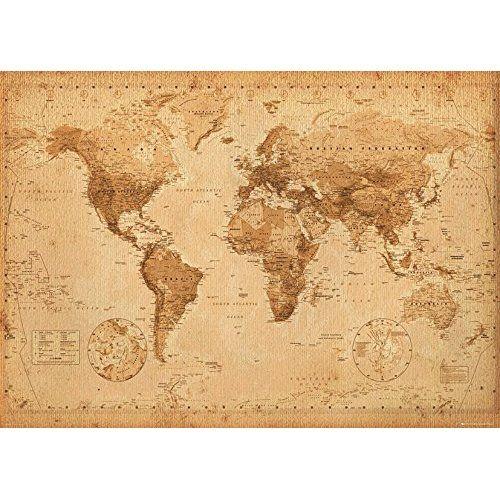 Poster xxl mappemonde carte du monde style ancienvintage 140cm x poster xxl mappemonde carte du monde style ancienvintage 140cm x 100cm amazon cuisine maison world map gumiabroncs Choice Image
