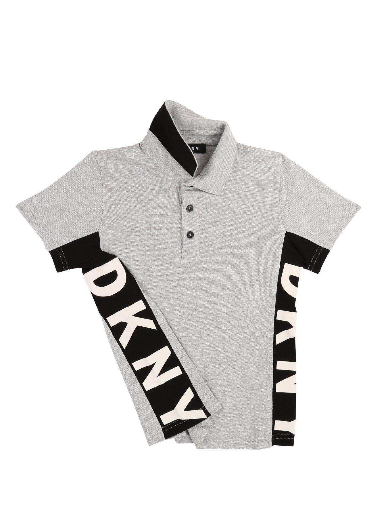 Dkny Boys Short Sleeve Side Logo Polo Shirt Grey, Grey