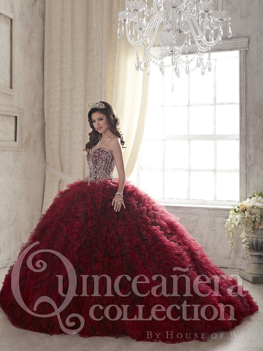 Quinceanera Dress 26838 House of Wu - Wine/Gold /