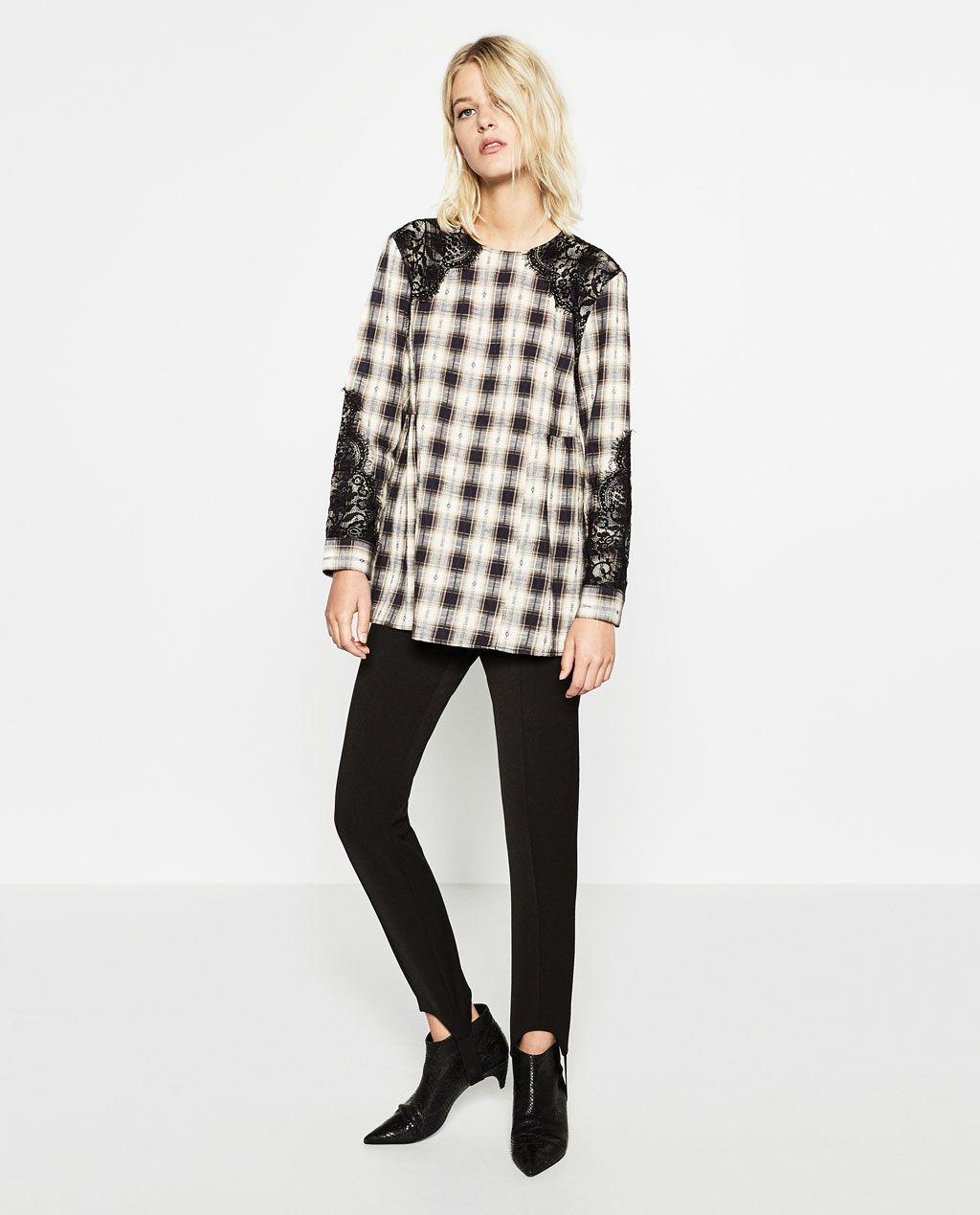 Imagen 1 de TÚNICA CUADROS de Zara | Moda | Pinterest | Túnicas ...
