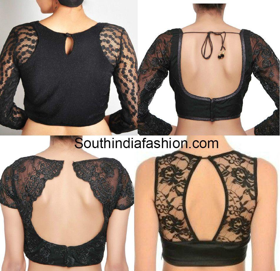 Black Net Blouse Back Design