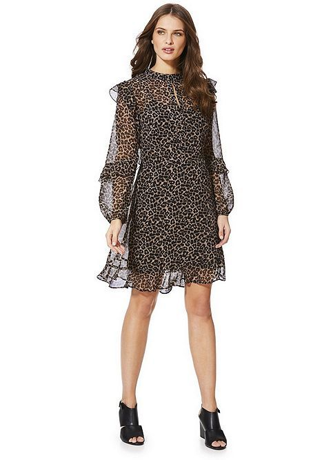 268b06ad9d20 Tesco direct: F&F Leopard Print Ruffle Chiffon Dress | Tesco In ...