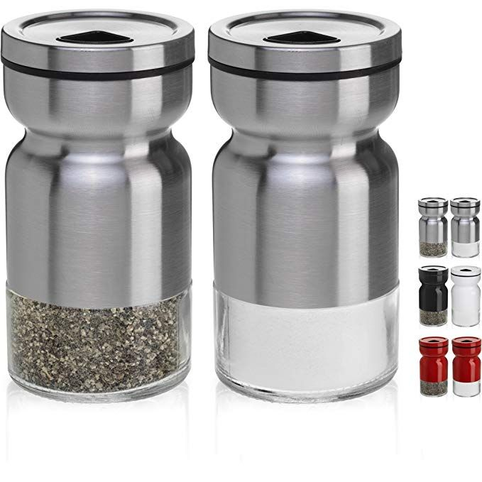 Chefvantage Salt And Pepper Shakers Set With Adjustable Pour Holes