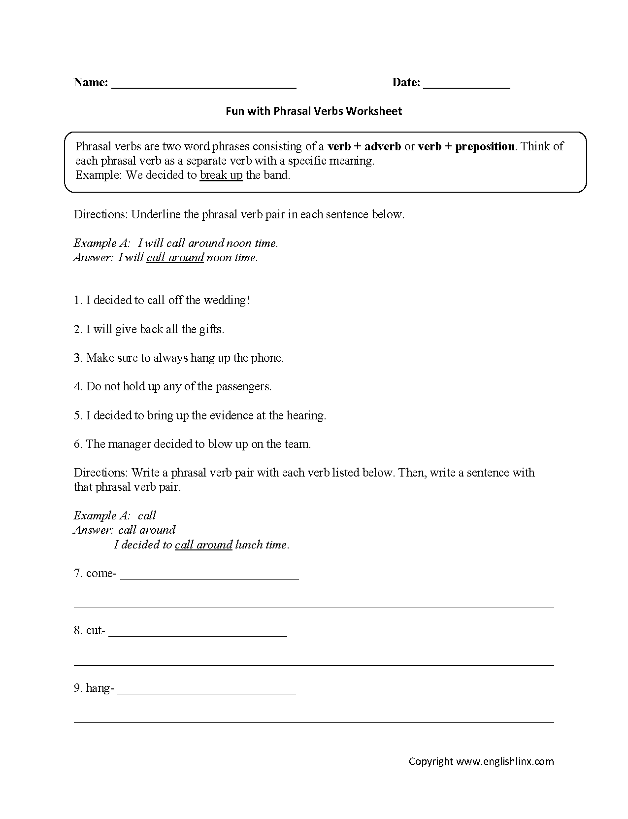 Fun With Phrasal Verbs Worksheet