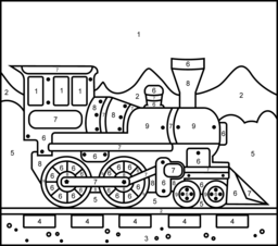 Steam Locomotive Printable Color By Number Page Train Coloring Pages Color By Number Printable Train Crafts