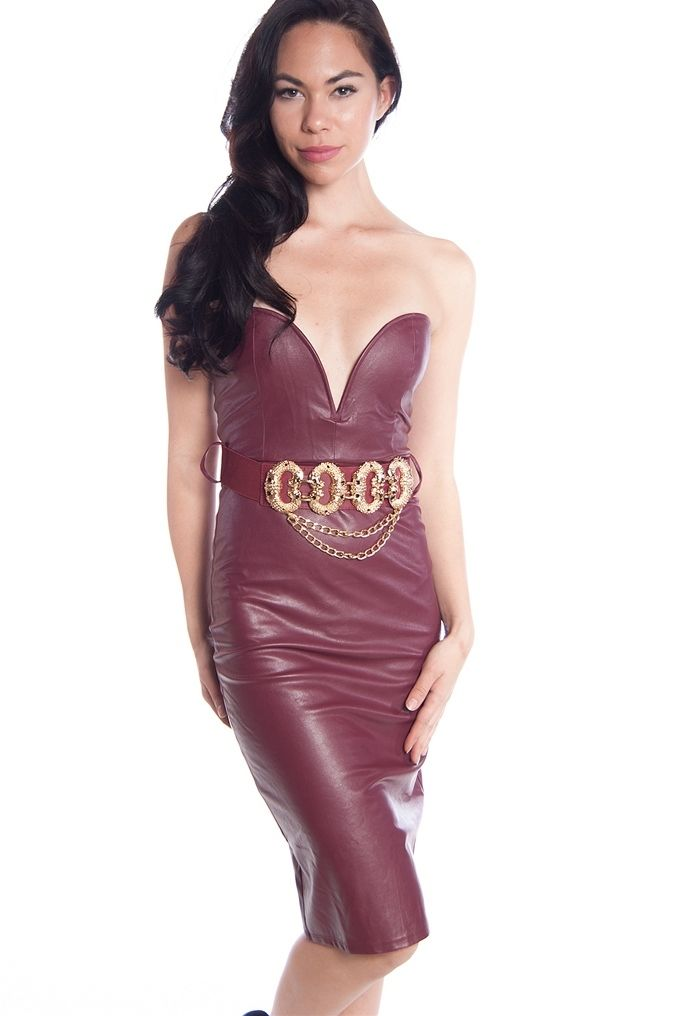 5b1f453538e Sweetheart Neck Faux Leather Tube Dress with Gold Chain Belt - Burgundy  from Miss Avenue at Lucky 21