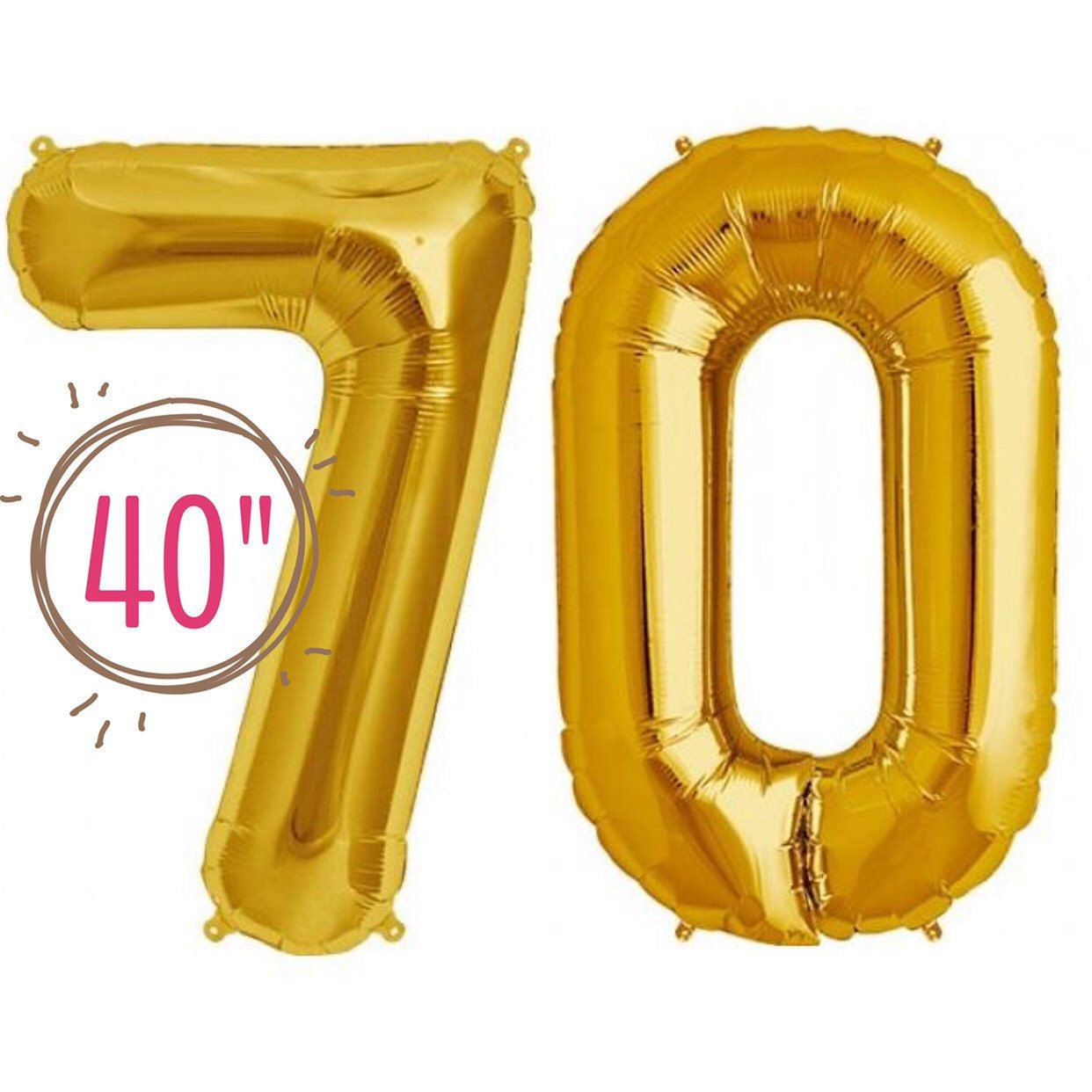 Red 34/'/' Foil Balloons Number Age 70//70th Birthday Foil Balloons