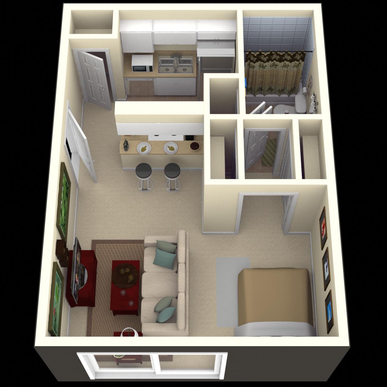 Studio, 1 & 2 Bedroom Apartments in Tampa Floor Plans