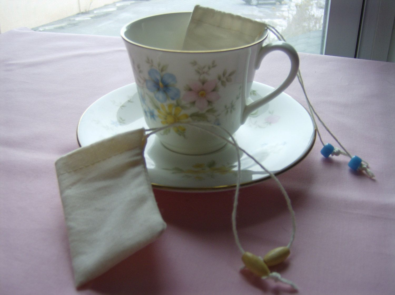 Reusable Tea Bags with Vintage Teacup and Saucer. 24.00
