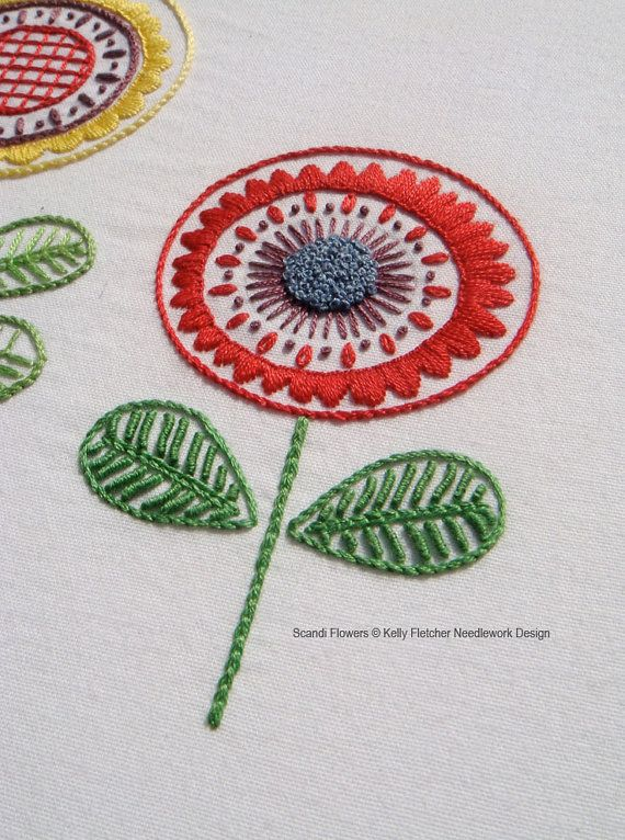 Scandi Flowers Hand Embroidery Pattern A Modern Embroidery Etsy Folk Embroidery Hand Embroidery Stitches Scandinavian Embroidery