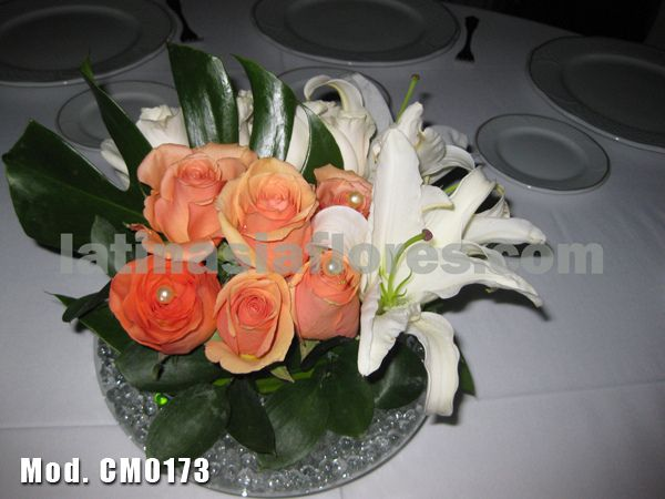 #white oriental lilies and #orange roses #wedding #centerpiece