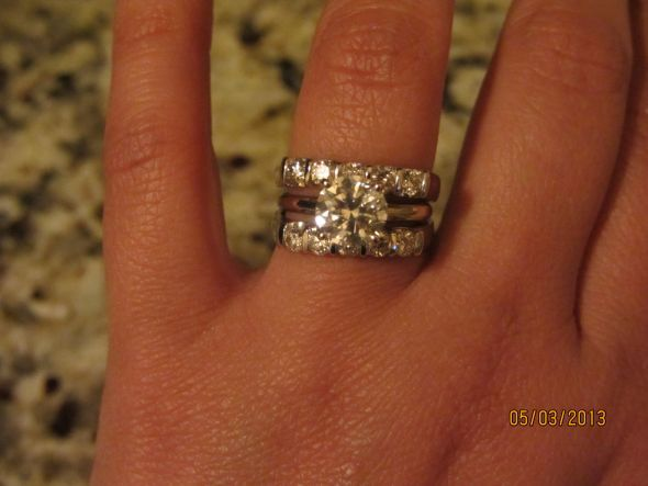 Show Me Your Diamond Wedding Band With Solitaire E Ring Weddingbee Page
