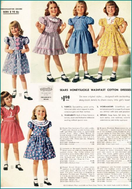 1940's fashion sears catalogue girls dresses | Historical ...