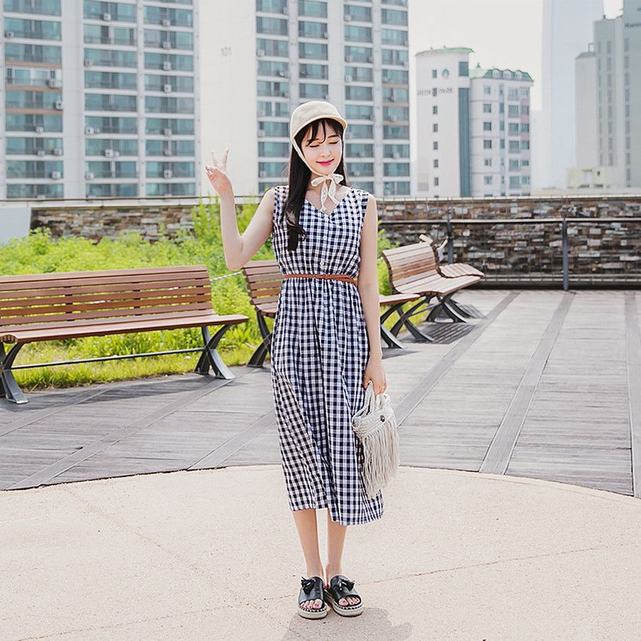 Envylook belted waist check long dress koreanfashion koreanstyle