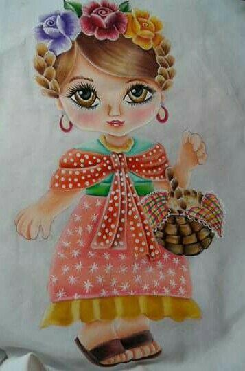 Bonecas pintadas m o inspira es pintura em tecido - Dibujos para pintar en tela infantiles ...